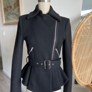 Zara Peplum Jacket Belted with Zippers